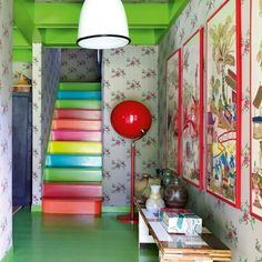 Oh if only my husband would let me paint the basement stairs this way!!