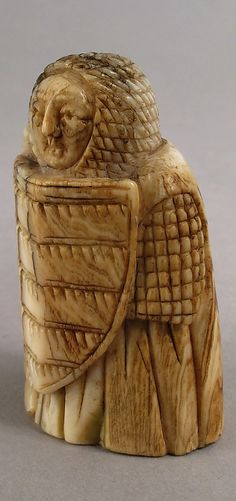 Chess piece in the form of a Warder (Rook) or Pawn, 12th century, Scandinavian, Whale ivory.