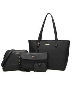 ea9d7b7c8f80 Women Fashion Handbags Tote Bag Shoulder Bag Top Handle Satchel Purse Set  4pcs - Black - C718ET4ZIR8