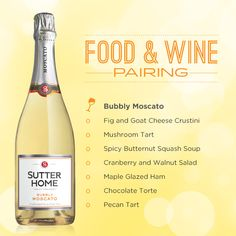The holiday season requires a bit of POP –serve Sutter Home Bubbly Moscato & one of our favorite food pairings.