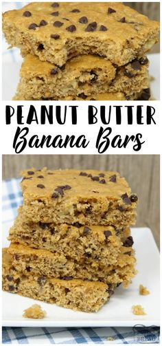 Peanut Butter Banana Bars are packed with bananas, whole wheat flour, peanut butter and chocolate chips. Perfectly sweet, filling & satisfying breakfast, school lunch or snack recipe from Butter With A Side of Bread via @ButterGirls