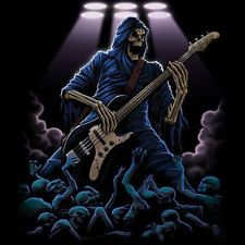 skeleton with guitar images | Grim Reaper Skull Playing Guitar Rock Roll Cool T Shirt Tee 557 ...