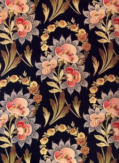 Russian textiles - a beautiful pattern. Love the way the darker tips on the ornamental leaves makes it appear as though they underneath flower clusters. Motifs Textiles, Textile Patterns, Textile Prints, Print Patterns, Textile Pattern Design, Floral Patterns, Fabric Design, Motif Floral, Floral Prints