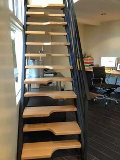 Custom-fabricated alternating stairs provided a space-saving, innovative solution to a homeowner's plan for a room above her tiny home office. Steep Staircase, Loft Staircase, Staircase Design, Tiny Home Office, Rustic Stairs, Tiny House Stairs, Loft Room, Attic Remodel, Interior Stairs