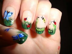 By the amazing Robin Moses 3 by - Nail Art Gallery by Nails Magazine Ladybug Nail Art, Butterfly Nail Art, Spring Nail Art, Spring Nails, Nail Art Designs, Nails Design, Nail Selection, Cute Summer Nails, Easter Nails