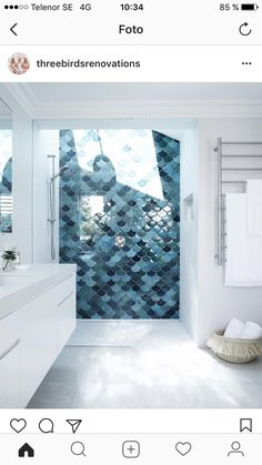Fish scale tile, also known as mermaid tile. Beautiful modern bathrooms and kitchens using the timeless fish scale tiled design Modern Small Bathrooms, Small Bathroom Tiles, Dream Bathrooms, Country Bathrooms, Glass Bathroom, Moroccan Tile Bathroom, Ocean Bathroom Decor, Skylight Bathroom, Blue Bathrooms