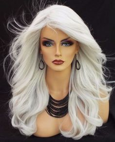 Lace-Front-Wig-New-Fashion-Womens-Long-Silver-White-Wavy-High-Quality-Full-wigs