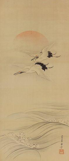 Crane and Sunrise. Japanese hanging scroll painting kakejiku.