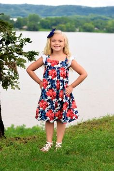 July 4th picnic parade dress Summer flowers floral red white blue bbq Girls Outfit Photo Shoot Girls Set by InspiredFlair on Etsy