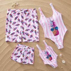 Family Matching Swimwear Pink Stripes Pineapple Swimsuit and Truck Shorts. Get many compliments when you're wear together. Kids Outfits, Cute Outfits, Cute Bathing Suits, Matching Family Outfits, Matching Clothes, Baby Outfits Newborn, Swimsuits, Swimwear, Latest Fashion For Women