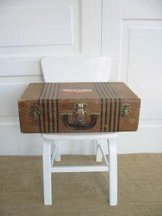 Vintage Striped Suitcase Brown Case Industrial Storage by vintagejane on Etsy