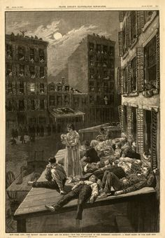 """New York City, the recent """"heated term"""" and its effect upon the population of the tenement districts - a night scene on the east side.  Wood engraving, from Frank Leslie's Illustrated Newspaper, August 12, 1882.  NYHS Image #79722d."""