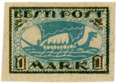 Estonia postage stamp: Viking ship,  c. 1920, via Karen Horton and flickr