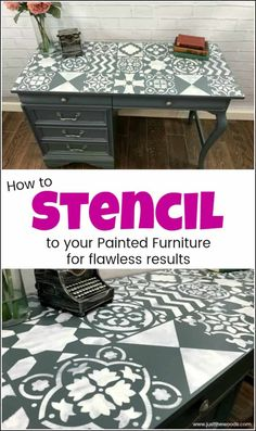 Create a painted furniture masterpiece by adding unique stencil patterns from Cutting Edge Stencils. Large wall stencils work great for furniture makeovers. via Just the Woods llc - Create a Colorful Home Painted Furniture For Sale, Chalk Paint Furniture, Diy Furniture Projects, Furniture Makeover, Funky Furniture, Furniture Stencil, Furniture Design, Diy Projects, Rustic Furniture