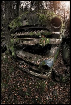 stacked cars. #ruins