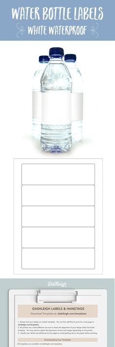 Free blank water bottle label template download: WL-7000 template ...