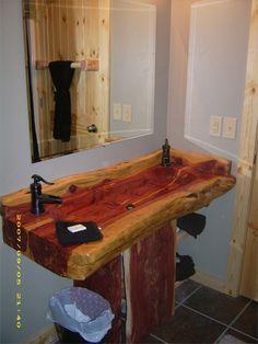 47 Awesome Creatives Wood Sink Ideas That Will Amaze You Vintage Bathroom Vanities, Small Bathroom Sinks, Diy Bathroom Vanity, Wood Bathtub, Wood Sink, Rustic Bathroom Designs, Rustic Bathrooms, Design Bathroom, Rustic Log Furniture