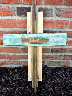 Rustic Hand-Crafted Wooden Cross Made From Reclaimed Pallet Wood (Love) via Etsy