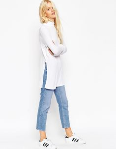 Image 1 ofASOS Longline Top With Side Split And Polo Neck