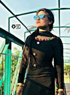 Black suit Black Punjabi Suit, Punjabi Suits, Salwar Suits, Punjabi Girls, Punjabi Fashion, Indian Fashion, Simple Indian Suits, Punjabi Suit Neck Designs, Patiyala Dress