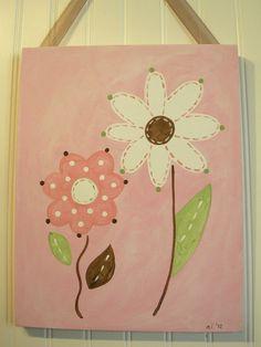 "Baby nursery decor Children wall art Nursery art paintings Kids girls room decor Nursery 11 x 14 pink green brown ""daisy duo"". $38.00, via Etsy."