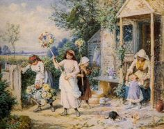 First of May ~ Myles Birket Foster ~ (English: 1825-1899)