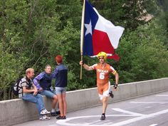 July 12, 2005. The guy with the longhorn helmet who always ran up the mountain with Lance.