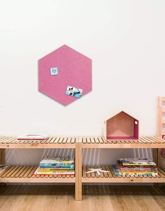 Hexagon Pinboard, Large in Pink Land Of Nod, Whiteboard, Wall Spaces, All Design, Fiber, Decals, Strong, Shapes, Texture