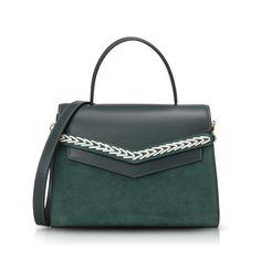 DEMETER Whipstitch Satchel - Dark Green | Hieleven Leather Bags