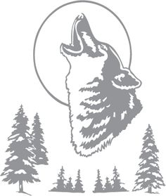 Glass etching stencil of Wolf, Moon and Trees. In category: Trees, Western, Wolf