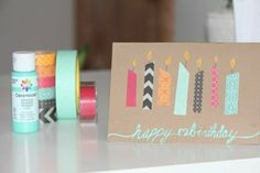 Washi Tape Geburtstagskarten basteln You are in the right place about diy birthday adult Here we offer you the most beautiful pictures about the diy birthday pictures you are looking for. Handmade Birthday Cards, Happy Birthday Cards, Diy Birthday, Card Birthday, Friend Birthday, Birthday Ideas, Birthday Gifts, Diy And Crafts Sewing, Crafts For Kids