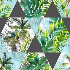 """Pobierz zdjęcie royalty free  """"Watercolor tropical leaves and palm trees in geometric shapes seamless pattern"""" autorstwa tanycya w najniższej cenie na Fotolia.com. Przeglądaj naszą bazę tanich obrazów online i odnajdź doskonałe zdjęcie stockowe do Twoich projektów reklamowych!"""