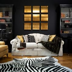 black beadboard gold walls | Combining Black, White, and Gold for Interior Design : Amazing 1 Black ...