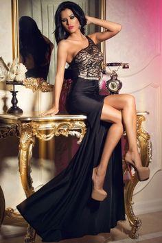 e919fc059e9 Noble Asymmetric Shoulder Lace Waist Chain High Slit Party Gown Evening  Dress Long