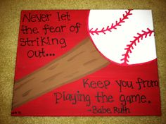 Baseball or Softball Canvas Quote (Made to order) 11x14. $12.00, via Etsy.