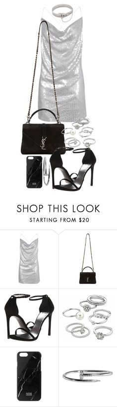 """""""Untitled #20554"""" by florencia95 ❤ liked on Polyvore featuring Boohoo, Yves Saint Laurent, Stuart Weitzman, Candie's, Native Union and Eddie Borgo"""