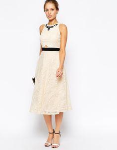 Image 1 ofLittle Mistress Lace Midi Prom Dress with Jewel Embellished Neck
