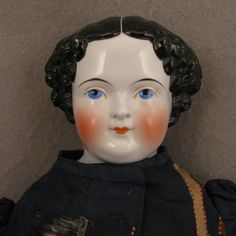 "22"" German 1860s-70s Flat Top China Head Doll w/ All Original from virtu-doll on Ruby Lane"