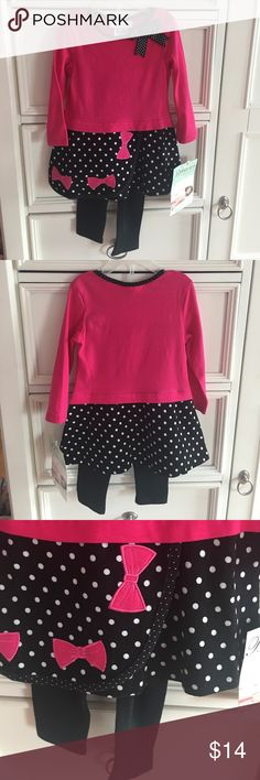 🎀 NWT Bonnie Baby 18 Month Bow Outfit New with tags's Bonnie Baby 18 month outfit. Black and pink with black and white polkadots and pink bows embroidered on it. Tunic length top and matching black pants. Smoke free home. Cotton/spandex Bonnie Baby Matching Sets