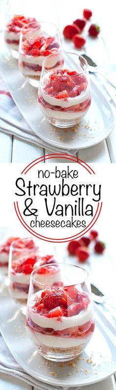 No-Bake Vanilla & Strawberry Cheesecakes - Super cute, super easy to make, and super delicious! | http://thetoughcookie.com