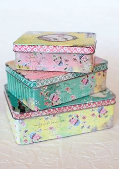 Pretty floral pastel tins. Great for organizing sewing notions.