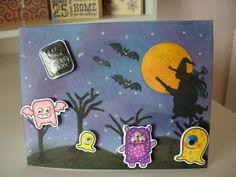 Halloween card using Lawn Fawn stamps and dies
