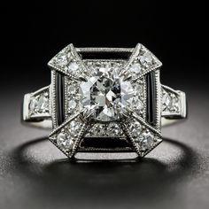 Art Deco Style .77 Carat Diamond and Onyx Ring