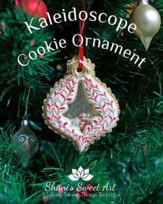 Learn how to make a beautiful Kaleidoscope cookie Christmas tree ornament with decorated sugar cookies, isomalt and sprinkles. Sugar cookie recipe, kaleidoscope cookie, stained glass cookie via Cookie Tutorials, Cake Decorating Tutorials, Cookie Decorating, Sugar Cookies Recipe, Yummy Cookies, Christmas Desserts, Christmas Cookies, Christmas Recipes, Cake Pop Tutorial