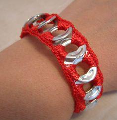ReCycladelic Pop Top Bracelet - Heart Beat Red crimson red handmade crochet tie-on soda tab bracelet by lanmom, $5.20