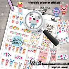 Stickers Set, Printable Planner Stickers, Weekly Stickers, Animal Stickers, Erin Condren, Planner Accessories, Life Quotes, Happiness, Pack