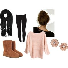 big sweater + same color earrings + black leggings + black scarf + UGGS + bun