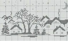 Dsn Xmas Cross Stitch, Cross Stitch Charts, Cross Stitch Designs, Cross Stitching, Cross Stitch Embroidery, Crochet Cross, Filet Crochet, Pixel Art Noel, Cross Stitch Landscape