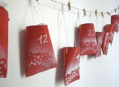calendrier de l'Avent de couleur rouge DIY guirlande sympa