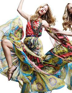 Linda Vojtova Models Patterned Dresses for Woman Spain March 2012 #healthy trendhunter.com